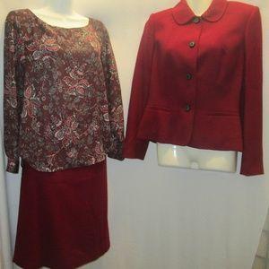 kasper skirt suit with Ann Taylor Blouse 3 pc set
